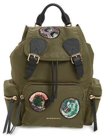Burberry Medium Patches Rucksack Nylon Backpack - Green