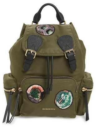 Burberry Medium Patches Rucksack Nylon Backpack - Green $1,495 thestylecure.com