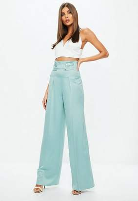 Missguided Blue Double Button Belted Wide Leg Pants