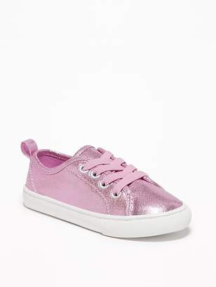 Old Navy Metallic Faux-Leather Elastic-Lace Sneakers for Toddler Girls