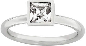 JCPenney FINE JEWELRY Personally Stackable Sterling Silver April Birthstone Crystal Ring