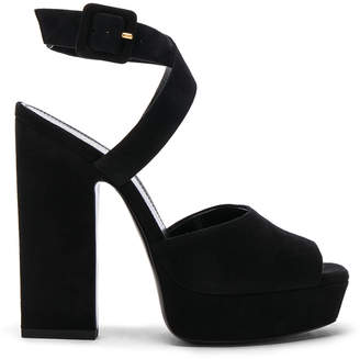 Saint Laurent Suede Debbie Platform Cross Strap Sandals