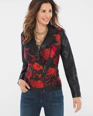 Jacquard Faux-Leather Moto Jacket