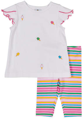 Florence Eiseman Ice Cream Cone Embroidered Top w/ Multi-Stripe Leggings, Size 2-4T