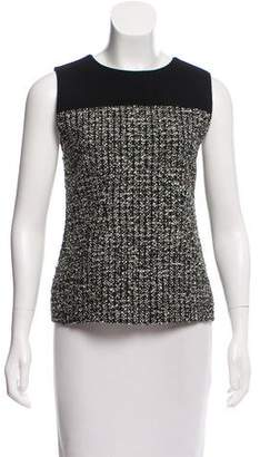 Bouchra Jarrar Wool Tweed-Trimmed Top
