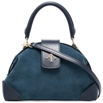 Atelier Manu Blue Demi Leather and Suede Crossbody Bag