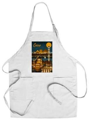 Cairo, Egypt - Retro Skyline - Lantern Press Artwork (Cotton/Polyester Chef's Apron)
