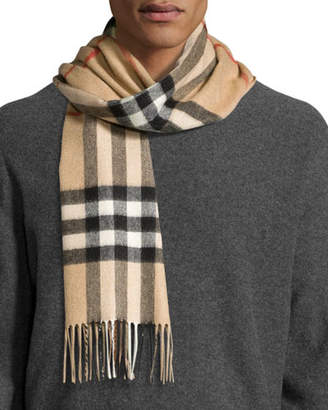 Burberry Men's Cashmere Giant Icon Scarf, Camel