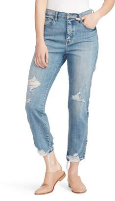 Ella Moss Ripped High Waist Ankle Straight Leg Jeans