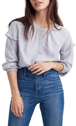 Madewell Stripe Collarless Ruffle Sleeve Shirt (Regular & Plus Size)