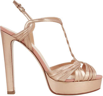 Francesco Russo Gold Platform Sandals