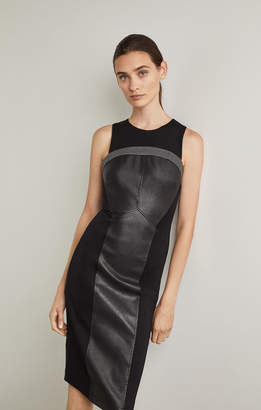 BCBGMAXAZRIA Faux Leather-Trimmed Dress