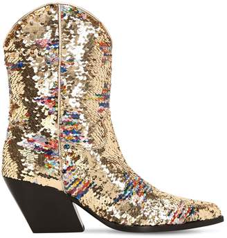 Elena Iachi 70mm Sequined Leather Cowboy Boots
