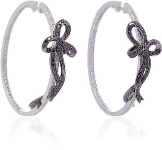 Colette Jewelry Two-Tone Bow 18K White Gold Hoop Earrings