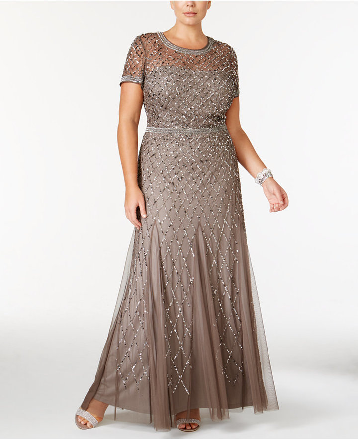 Adrianna Papell Adrianna Papell Plus Size Beaded Gown