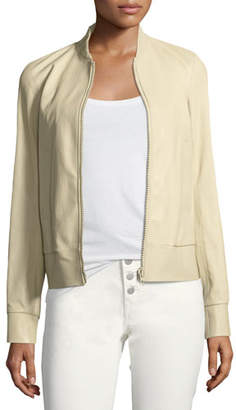 Joseph Leather Zip-Front Bomber Jacket