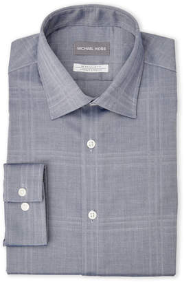 Michael Kors Chambray Plaid Regular Fit Dress Shirt