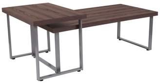 Flash Furniture Roslindale Rustic Wood Grain Finish Coffee Table with Silver Metal Legs