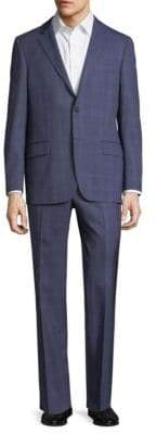 Hickey Freeman Windowpane Wool Suit