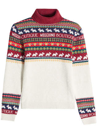 Moschino Printed Pullover with Wool and Cashmere