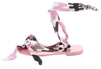Emilio Pucci Satin Lace-Up Sandals