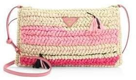 Prada Knit Raffia Crossbody Bag