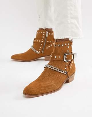 House of Hounds House Of Hounds Jasper studded cuban boots in tan snake print suede