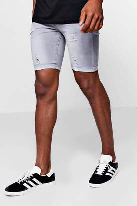 boohoo Spray On Denim Short in Grey with Rips