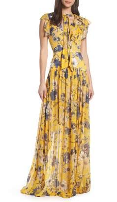 ML Monique Lhuillier Floral Maxi Dress