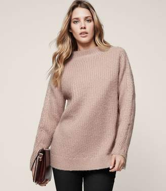 Reiss Annabella - Chunky Funnel-neck Jumper in Pink