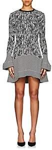 Esteban Cortazar Women's Zebra- & Chevron-Pattern Compact Knot Minidress-Ecru, Blk