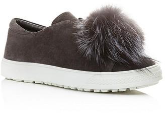 Delman Marli Suede and Marten Fur Pom Pom Sneaker $248 thestylecure.com