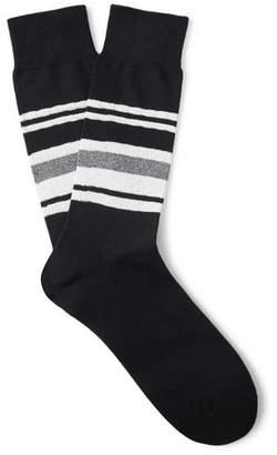 N/A Striped Stretch Cotton-Blend Socks