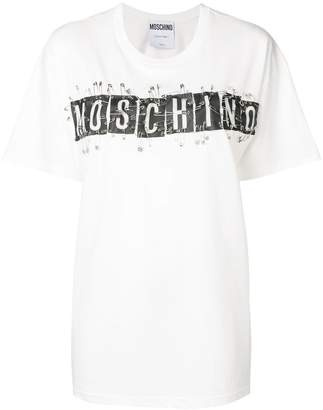 Moschino logo safety pin applique T-shirt