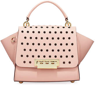 Zac Posen Eartha Floral-Perforated Leather Crossbody Bag, Rose