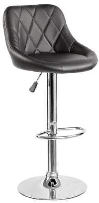 Generic PU Leather Height Adjustable Swivel Bar Stool Dining Office Pub Chair(5015), Black