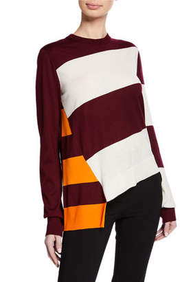 Calvin Klein Long-Sleeve Crewneck Flag Patchwork Sweater