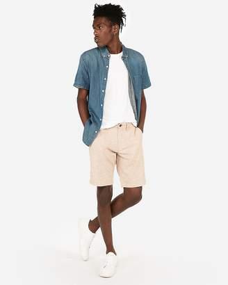 Express Classic 10 Inch Linen-Blend Flat Front Shorts