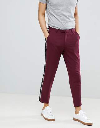 Asos Design DESIGN Skinny Crop Smart Pants With Fringe Side Stripe
