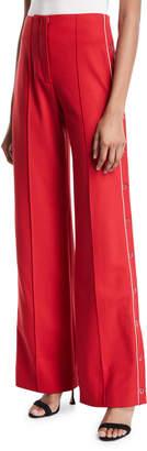 Jonathan Simkhai Snap-Up Wide-Leg Pleated Pants