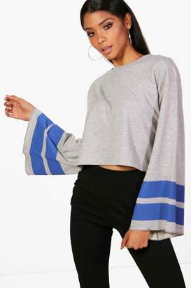 boohoo Sports Stripe Wide Sleeve Sweat