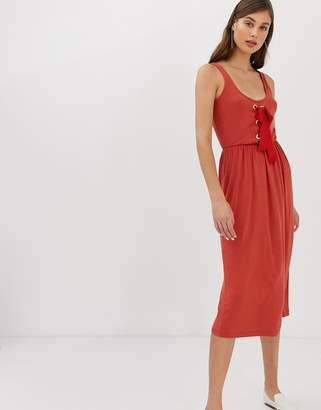 Warehouse midaxi dress with tie front detail in rust