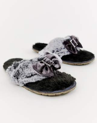 Bedroom Athletics Jacqui faux fur toe post slipper in charcoal