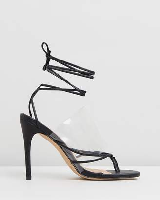 Missguided Perspex Toe Lace-Up Sandals