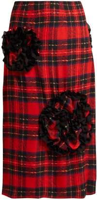 Simone Rocha Lace trimmed-rosette georgette midi skirt