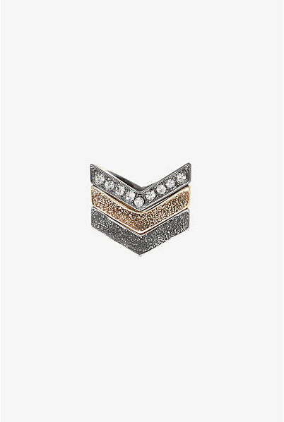 Torrid Gold Silver Hematite Chevron Stacked Ring Set