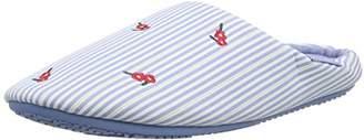 Isotoner Women's Ladies Woven Stripe Mules Open Back Slippers, (Pale Blue), 38 EU