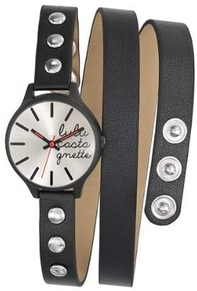 Lulu Castagnette Women's Quartz Watch with Silver Dial Analogue Display and Leather Black - 38739