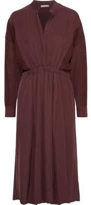 Vince Jacquard-paneled Gathered Twill Midi Dress