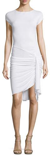 MICHAEL Michael KorsMichael Kors Cap-Sleeve Gathered-Waist Dress, Optic White